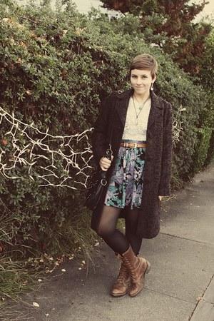 thrifted skirt - flea market boots - Target coat - vintage top