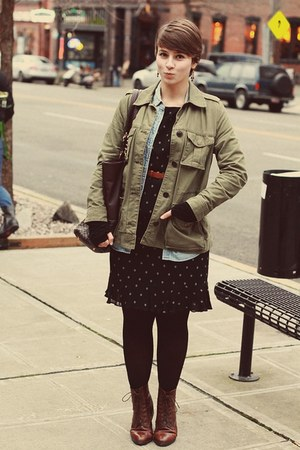 Gap jacket - thrifted boots - thrifted dress - J Crew shirt