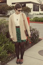 Goodwill cardigan - vintage purse - vintage blouse - Goodwill skirt