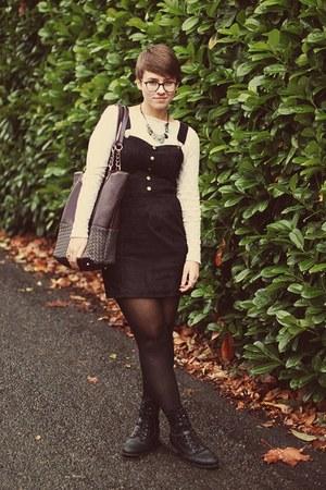Marshalls boots - H&M dress - vintage shirt - Marshalls bag