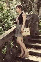 thrifted purse - Goodwill skirt - Goodwill top - DSW wedges