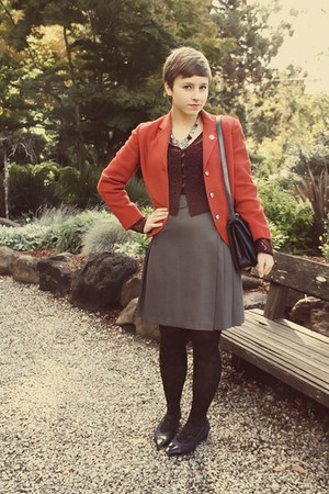 vintage blazer - Goodwill purse - thrifted skirt