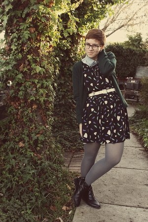 Urban Outfitters dress - vintage cardigan - J Crew blouse