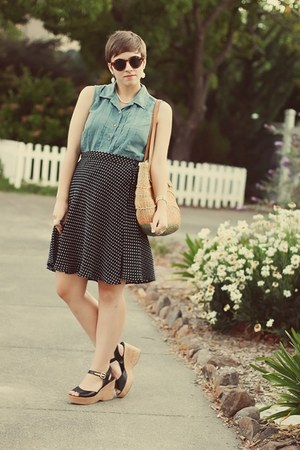 thrifted skirt - vintage purse - thrifted top - TJ Maxx wedges