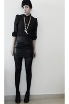 black lame mini skirt American Apparel - black blouse
