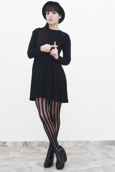 black Zara dress - black tights - black Forever 21 shoes - black hat