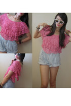 sky blue Levis shorts - white Folded and Hung sunglasses - hot pink random brand