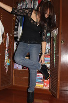 blouse - jeans - boots