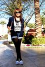 Blue-forever21-blazer-gray-victorias-secret-top-zara-shorts-black-stocking
