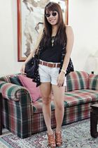 blue Pink Manila vest - black Mango top - blue Zara shorts - brown H&M belt - br