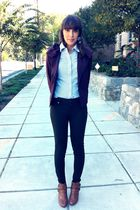 purple simply vera jacket - brown Steve Madden boots - blue Abercrombie blouse -