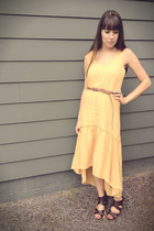 mustard hi-low Forever 21 dress - camel leather Zara belt