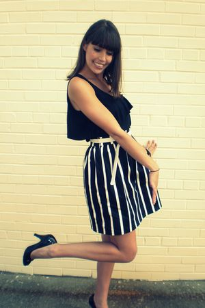 black made by me skirt - black Express shirt - white Forever 21 belt - black Ste