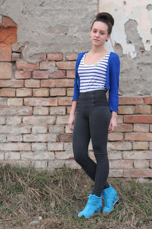 blue berschka cardigan - charcoal gray Amisu pants