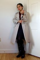 beige London Fog jacket - red Lord & Taylor t-shirt - black Express dress - blac