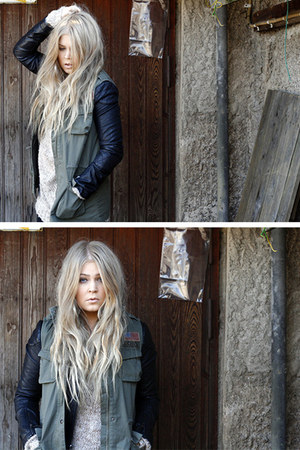 black leather Topshop jacket - army green GINA TRICOT vest - beige Monki jumper