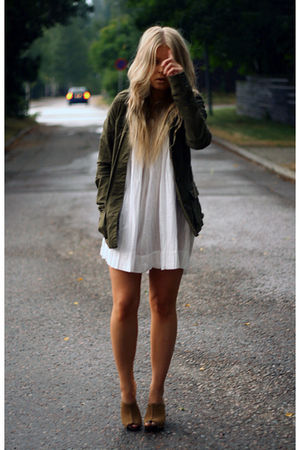 green H&amp;M jacket - white Vero Moda dress - brown Bianco clogs