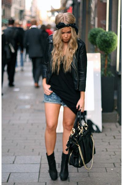 black asoscom jacket - blue acne shorts - black COS top - black Zara boots - bla