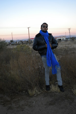 black vintage military jacket - violet Eighty-Eight shirt - blue DIY scarf - hea