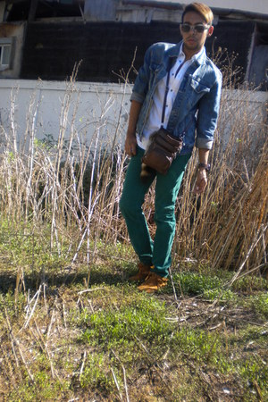 white H&M shirt - sky blue Old Navy jacket - turquoise blue H&M pants - brown Mi