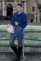 heart H&M skirt - Franco di Sarto boots - H&M sweater - Dooney and Burke bag