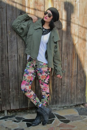 floral H&M tights - combat Guess boots - camo thrifted jacket