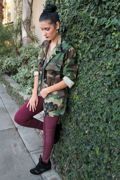 camo thifted coat - pleather H&amp;M pants - wedge Steve Madden sneakers