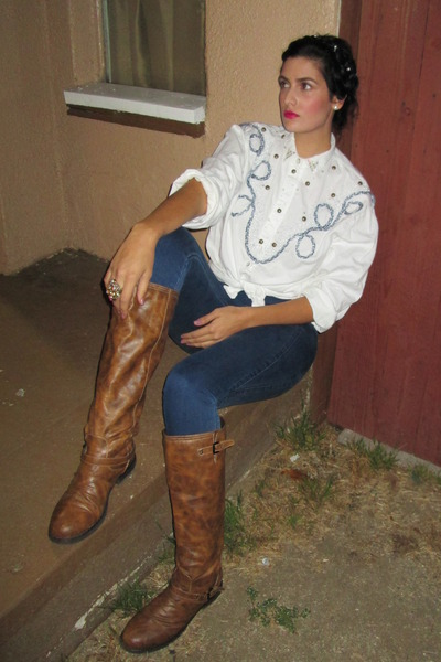 distressed Steve Madden boots - thrifted blouse