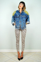 blue acid wash levis noirohio vintage jacket - beige leopard Topshop jeans