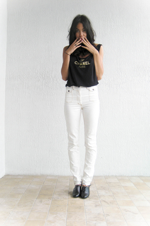 Chanel blouse - H&M jeans - payless shoes