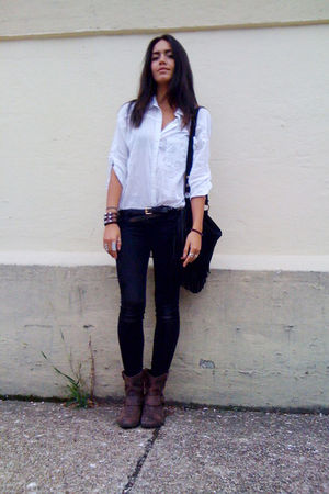 white H&M blouse - black vintage - black  jeans - brown Target boots - brown acc