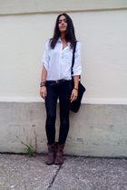 white H&M blouse - black vintage - black  jeans - brown Target boots - brown acc