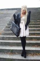 hippie H&M dress - fringed H&M jacket - big vintage bag - big Topshop wedges