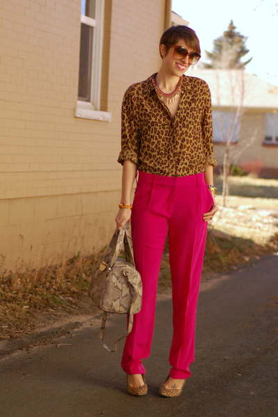 hot pink silk dvf pants - Cole Haan bag - leopard print liz claiborne blouse