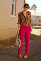 hot pink silk dvf pants - Cole Haan bag - leopard print liz claiborne blouse