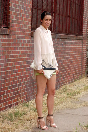 neutral neon laugh cry repeat shorts - off white python print Hype bag