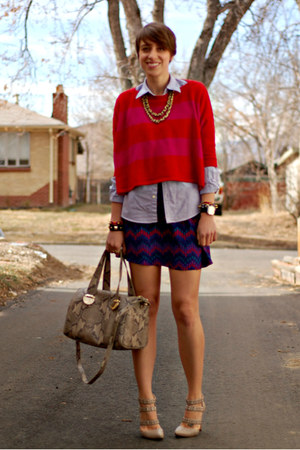striped Forever 21 sweater - printed Parker dress - python leather Cole Haan bag