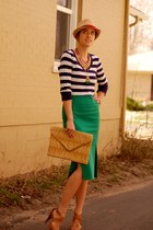 dark green asos skirt - camel fedora Forever 21 hat - navy striped Gap shirt