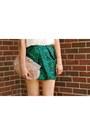 Camel-vintage-heels-nude-feather-clutch-asos-bag-dark-green-asos-skirt