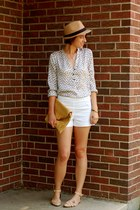 white spotted Forever 21 blouse - camel fedora Forever 21 hat - white H&M shorts