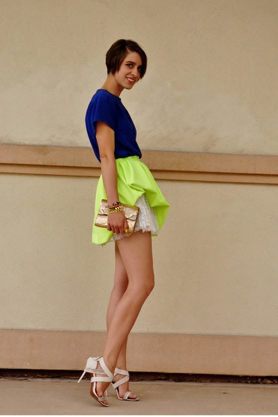 ivory lace mini H&M skirt - chartreuse Honey Punch skirt
