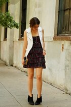 white linen moto Zara vest - black fringed Betsey Johnson boots