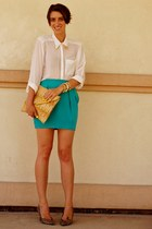 aquamarine silk bubble Naven skirt - white sheer H&M shirt
