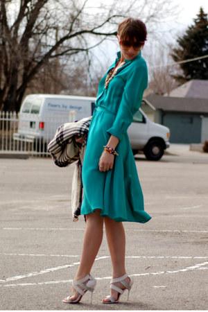 off white Charles Jourdan heels - aquamarine silk midi dress vintage dress
