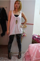 black MissOCD shoes - green leggings - gold necklace - white Zara top