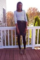 black Express skirt - light brown DV by dolce vita boots - H & M top - black J C