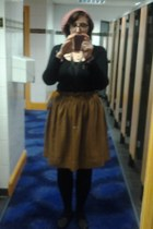 H n M skirt - new look hat - Primark tights - charity shop top - Topshop flats