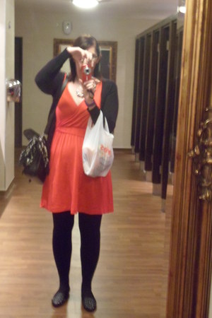 H n M dress - Primark tights - random bag - Topshop flats