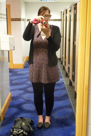 H n M dress - South leggings - tu sainsburys cardigan - Topshop flats