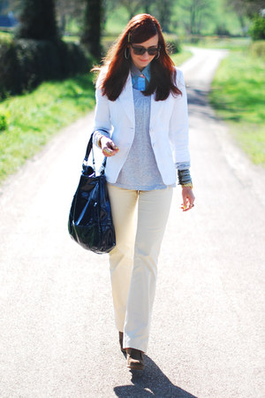 white next blazer - light blue vintage shirt - navy Debenhams bag